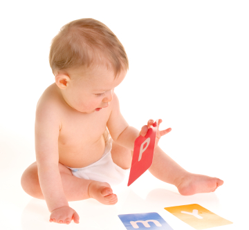 Baby with letters