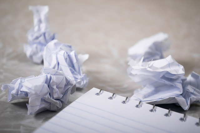 blank and crumpled paper from someone who doesn't know how to write a blog post